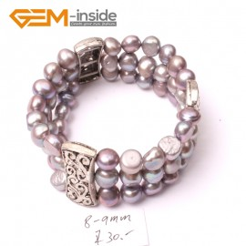 "G2877  8-9mm 3 Strands Gray Gery Cultured Pearl Linking Jewelry Bracelet  Elastic Stretch 7"" Fashion Jewelry Jewellery Bracelets  for women"