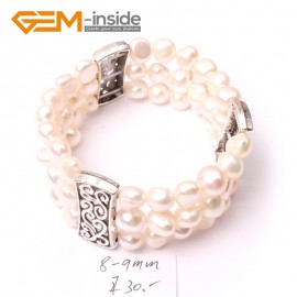 "G2879 8-9mm 3 Strands White Cultured Pearl Linking Jewelry Bracelet  Elastic Stretch 7"" Fashion Jewelry Jewellery Bracelets  for women"