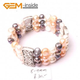 "G2880 8-9mm 3 Strands White Pink Black Cultured Pearl Linking Jewelry Bracelet  Elastic Stretch 7"" Fashion Jewelry Jewellery Bracelets  for women"