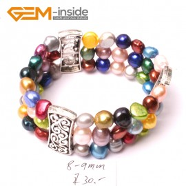 "G2881 8-9mm 3 Strands Muti-Color Cultured Pearl Linking Jewelry Bracelet  Elastic Stretch 7"" Fashion Jewelry Jewellery Bracelets  for women"