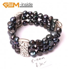 "G2883 8-9mm 3 Strands Black Cultured Pearl Linking Jewelry Bracelet  Elastic Stretch 7"" Fashion Jewelry Jewellery Bracelets  for women"