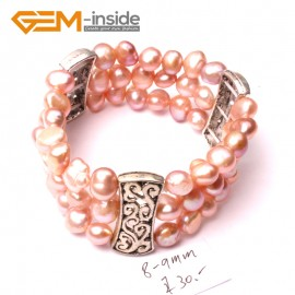 "G2884 8-9mm 3 Strands Pink Cultured Pearl Linking Jewelry Bracelet  Elastic Stretch 7"" Fashion Jewelry Jewellery Bracelets  for women"
