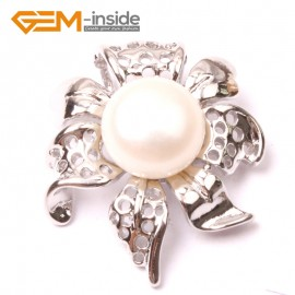 G2899 Natural White 10-11mm Freshwater Cultured Pearl White Gold Plate Flower Shape Pendant Fashion Jewelry Pendants Fashion Jewelry Jewellery