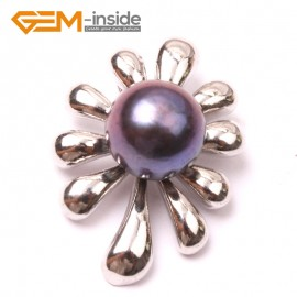 G2905 black 10-11mm  Cultured Freshwater  Pearl White Gold Plate Flower Tree Shape Pendant Fashion Jewelry Pendants Fashion Jewelry Jewellery