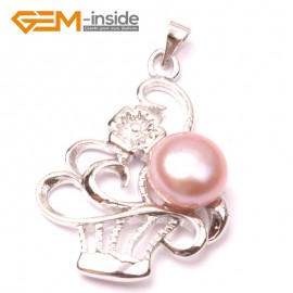 G2911 Natural purple 10-11mm Freshwater Cultured Pearl White Gold Plate Basket Shape Pendant Fashion Jewelry Pendants Fashion Jewelry Jewellery
