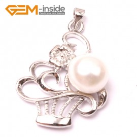 G2912 Natural white 10-11mm Cultured Freshwater  Pearl White Gold Plate Basket Shape Pendant Fashion Jewelry Pendants Fashion Jewelry Jewellery