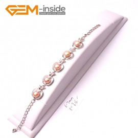 "G2973 6-7mm Pink Freshwater Pearl Apple Shape White Gold Plated Adjustable Bracelet  8"" Fashion Jewelry Jewellery Bracelets for Women"