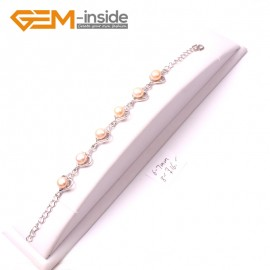 "G2998 6-7mm Pink Freshwater Pearl Heart Shape Bracelet White Gold Plated Adjustable Size 8"" Fashion Jewelry Jewellery Bracelets  for Women"