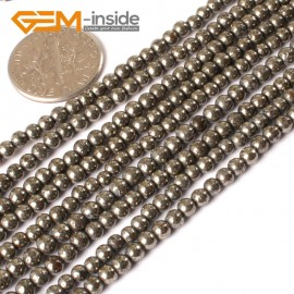 """G3018 3mm Natural Pyrite Round Gemstone Tiny Jewelry Making Loose Spacer Beads Strand 15"""" Natural Stone Beads for Jewelry Making Wholesale"""