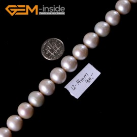 "G3181 Round White Natural Freshwater 11-13mm Pearl Beads Strand 15"" Beads for Jewelry Making"
