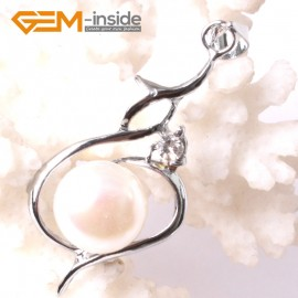 G3290 9-10mm White Freshwater Pearl Rhinestone White Gold Plated Necklace Pendant Fashion Jewelry Jewellery 1 Pcs