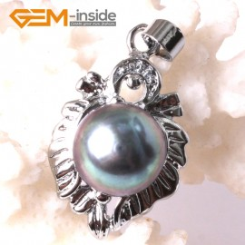 G3293 9-10mm White Freshwater Pearl Rhinestone White Gold Plated Heart Necklace Pendant Fashion Jewelry Jewellery 1 Pcs