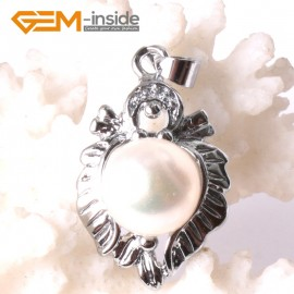 G3294 9-10mm White Freshwater Pearl Rhinestone White Gold Plated Heart Necklace Pendant Fashion Jewelry Jewellery 1 Pcs
