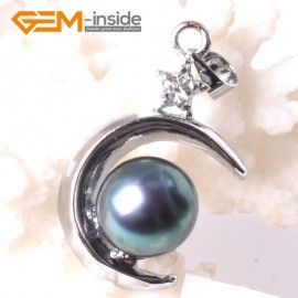 G3296 9-10mm Black Freshwater Pearl White Gold Plated Moon Necklace Pendant Fashion Jewelry Jewellery 1 Pcs