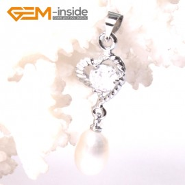 G3303 White Freshwater Pearl Dangle White Gold Plated Pendants for Necklace Fashion Jewelry Jewellery 1 Pcs