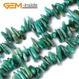 "G3477 16-20mm (Green Amazonite) Freeform Stick Gemstone Jewelry Making Loose Beads 15"" 39 Materials Natural Stone Beads for Jewelry Making Wholesale"
