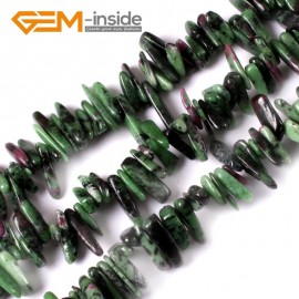 "G3487 16-20mm (Ruby Zoisite) Freeform Stick Gemstone Jewelry Making Loose Beads 15"" 39 Materials Natural Stone Beads for Jewelry Making Wholesale"