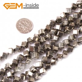 "G3604 6mm cube Gemstone Silver Gray Pyrite Stone Beads Strand 15"" Free Shipping Natural Stone Beads for Jewelry Making Wholesale"