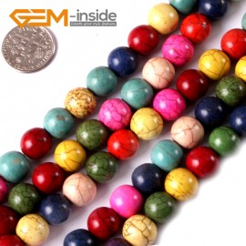 """G3624 10mm Round Multi-Color Howlite Stone Beads Dyed Color 15"""" Stone Beads for Jewelry Making Wholesale"""