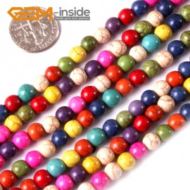 """G3626 6mm Round Multi-Color Howlite Stone Beads Dyed Color 15"""" Stone Beads for Jewelry Making Wholesale"""