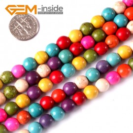"""G3627 8mm Round Multi-Color Howlite Stone Beads Dyed Color 15"""" Stone Beads for Jewelry Making Wholesale"""
