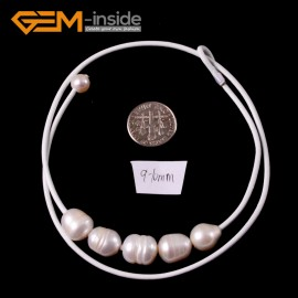 "G3683 9-10mm White 5 Freshwater Pearls White Rope Necklace 17.5"" Pearl Necklaces Fashion Jewelry Jewellery for Women"