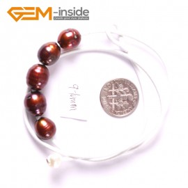 "G3687 9-10mm Brown 5 Freshwater Pearls White Rope Necklace 17.5"" Pearl Necklaces Fashion Jewelry Jewellery for Women"