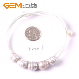 "G3689  9-10mm Gray 5 Freshwater Pearls White Rope Necklace 17.5"" Pearl Necklaces Fashion Jewelry Jewellery for Women"