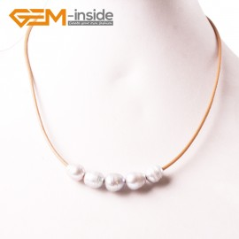 "G3692 9-10mm Gray 5  Freshwater Pearls Brown Rope Necklace 17.5"" Pearl Necklaces Fashion Jewelry Jewellery for Women"