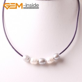 "G3700 9-10mm White Gray Grey Freshwater Pearls Black Rope Necklace 17.5"" Pearl Necklaces Fashion Jewelry Jewellery for Women"