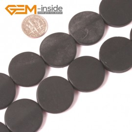 "G4013 25mm Coin Matte Black Brazil Agate Loose Beads Strands 15"" for Jewelry Making Gemtone Natural Stone Beads for Jewelry Making Wholesale"