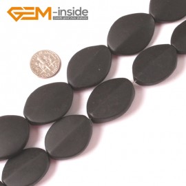 "G4014 22X30mm Oval Matte Brazil Black Agate Beads 15"" Jewelery Making Gemstone Loose Beads Natural Stone Beads for Jewelry Making Wholesale"
