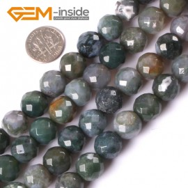 "G4046 12mm Natural Round Faceted Green Moss Agate Stoen DIY Jewelry Making Beads Strand 15"" Natural Stone Beads for Jewelry Making Wholesale"