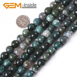 """G4047 10mm Natural Round Faceted Green Moss Agate Stone DIY Jewelry Making Beads Strand 15"""" Natural Stone Beads for Jewelry Making Wholesale"""