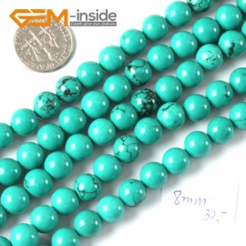 "G4071 8mm Round Gemstone Natural Turquoise Gemstone Loose Beads 15"" Natural Stone Beads for Jewelry Making Wholesale"