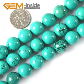 """G4073 12mm Round Gemstone Natural Turquoise Gemstone Loose Beads 15"""" Natural Stone Beads for Jewelry Making Wholesale"""