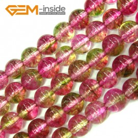 "G4108 6mm Round Tourmaline Faux Crackle Jewelry Making Stone Beads Strand 15""  Stone Beads for Jewelry Making Wholesale"