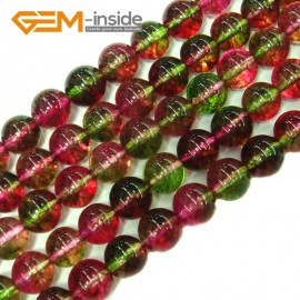 "G4109 8mm Round Tourmaline Faux Crackle Jewelry Making Stone Beads Strand 15""  Stone Beads for Jewelry Making Wholesale"