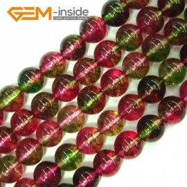 "G4110 10mm Round Tourmaline Faux Crackle Jewelry Making Stone Beads Strand 15""  Stone Beads for Jewelry Making Wholesale"