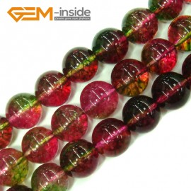 "G4111 12mm Round Tourmaline Faux Crackle Jewelry Making Stone Beads Strand 15""  Stone Beads for Jewelry Making Wholesale"