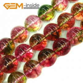 "G4112 14mm Round Tourmaline Faux Crackle Jewelry Making Stone Beads Strand 15""  Stone Beads for Jewelry Making Wholesale"