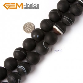 "G4214 20mm Round Frosted Black Sardonyx Agate Onyx Gemstone Loose Beads Strand 15"" Natural Stone Beads for Jewelry Making Wholesale"