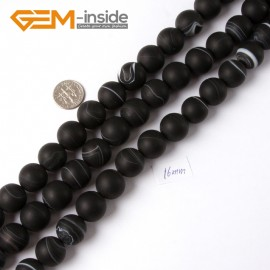 "G4216 16mm Round Frosted Black Sardonyx Agate Gemstone Loose Beads Strand 15"" Natural Stone Beads for Jewelry Making Wholesale"