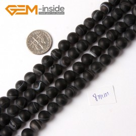 "G4218 8mm Round Frosted Black Sardonyx Agate Onyx Gemstone Loose Beads Strand 15"" Natural Stone Beads for Jewelry Making Wholesale"