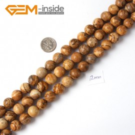 "G4257 12mm Yellow Brown Natural Round Picture Jasper Stone Beads Strand 15"" Natural Stone Beads for Jewelry Making Wholesale"