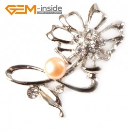 G4548 7-8mm Pink  Freshwater Pearl Gold Plated Flower Shape Pin Brooch 25x52mm Fashion Jewelry Jewellery for Women 1 Pcs