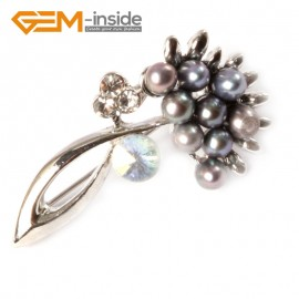 G4549 4-5mm Black Freshwater Pearl Gold Plated Flower Shape 22x42mm Pin Brooch Fashion Jewelry Jewellery