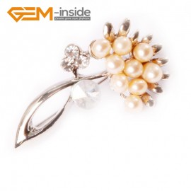 G4552 4-5mm Pink  Freshwater Pearl Gold Plated Flower Shape 22x42mm Pin Brooch Fashion Jewelry Jewellery