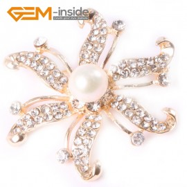 G4554 9-10mm White Freshwater Pearl Yellow Gold Plated Starfish Rhinestone Pin Brooch 48mm Fashion Jewelry Jewellery for Women 1 Pcs