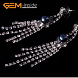 G4570 8-9mm Black Freshwater Pearl Gold Plated Rhinestone Dangle Stud Earrings1 Pair for Ladies Fashion Jewelry Jewellery